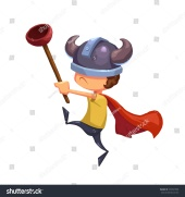 stock-photo-illustration-for-children-the-super-kid-hero-with-toilet-plunger-and-viking-hat-realistic-353547500